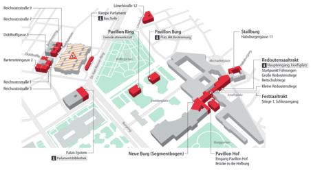Plan der einzelnen Trakte der Wiener Hofburg, wo das Parlament Ausweichquartiere hat.
