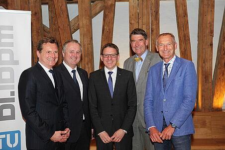 Die Redner der Antrittsvorlesung von links nach rechts Dekan Blab, Diplomingenieur Weidlinger, Professor Goger, Professor Achammer, Professor Kropik