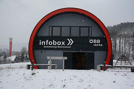 Die Info-Box im Schnee.